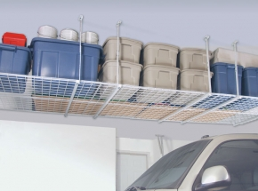 "00210 HyLoft® 48"" x 48"" Ceiling Storage Unit, White (Multiple Units Shown)"