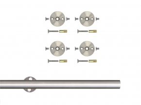 SS-RR-65-A Stainless Steel Round Rail with Mounting Brackets